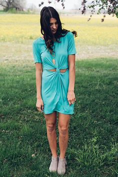 Twisted Turquoise T-Shirt Dress