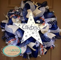 Dallas Cowboys Football  Deco Mesh Wreath by Jennifer Boyd Designs.  www.etsy.com/shop/JenniferBoydDesigns www.facebook.com/JenniferBoydDesigns
