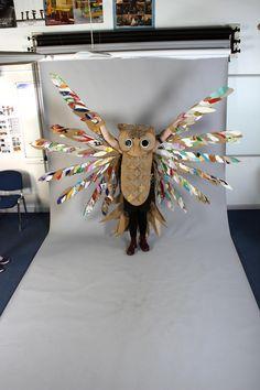 Strode College - Somerset UK Cardboard Catwalk 2014 Owl in Studio