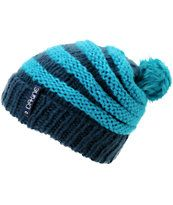 Dakine Girls Striped Scruntch Turquoise Beanie
