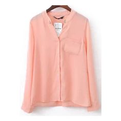SheIn(sheinside) Pink Long Sleeve Anchors Embellished Pocket Blouse ($14) ❤ liked on Polyvore