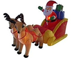 Shop for Inflatable Santa Sleigh & Reindeer Lighted Christmas Yard Art Decor. Get free delivery On EVERYTHING* Overstock - Your Online Christmas Store! Get in rewards with Club O! Reindeer And Sleigh, Reindeer Decorations, Outdoor Christmas Decorations, Yard Decorations, Halloween Decorations, Christmas Yard Art, Christmas Lights, Christmas Stuff