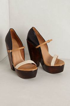 Terreaux Wedges black and white and tan. Anthropologie wedges.