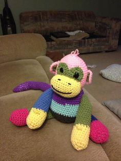 Monkey time Crochet Projects, Monkey, Dinosaur Stuffed Animal, Crochet Hats, Toys, Animals, Animales, Monkeys, Animaux