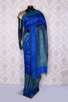 Scintillating electric #blue multi color pure #tussar silk printed #saree -SR12577 South Silk Sarees, Printed Sarees, Electric Blue, Ikat, High Neck Dress, Pure Products, Prints, Color, Dresses