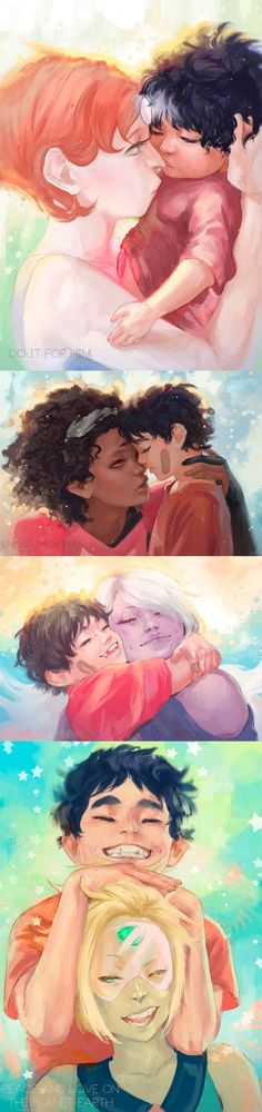 I think these paintings of little Steven growing up with the Gems are adorable!