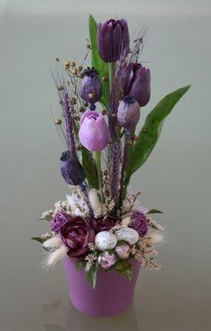 Velikonoční keramika s tulipány - ve fialové
