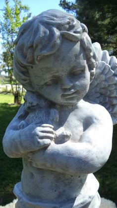 Sweet Boy Angel With Bunny Rabbit Gray Cement Antiqued White Garden Statue