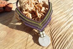 handmade macrame necklace with old Indian coin. by ARTEAMANOetsy