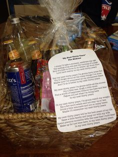 """For my 30th birthday my best friend gave me a gift basket. On the note is the song lyrics to Tim McGraw's """"My Next Thirty Years"""". In the basket were items represented in the song. This was the most thoughtful birthday present I have ever received. It's not about life passing you by, it's about living for the rest of the life ahead of you!"""