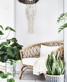 A rattan chair surrounded by pot plants. A rattan chair surrounded by pot plants. Moroccan Decor Living Room, Morrocan Decor, Living Room Decor, Living Rooms, Ikea Plants, Pot Plants, First Apartment Decorating, Decor Room, Home Decor
