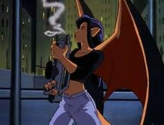 There is one episode where humans and Gargoyles switch places and at one point Elisa became a Gargoyle - this is what she looked like.