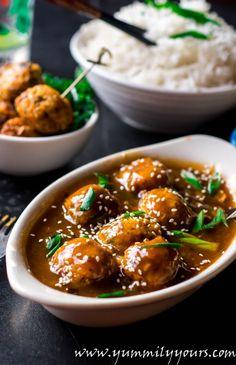 Veg manchurian gravy - veggie balls in cantonese sauce