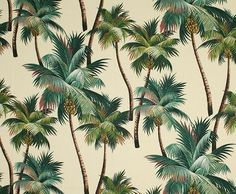 Tropical Fabric cotton upholstery barkcloth Palm Trees on Tropical Fabric, Tropical Leaves, Tropical Prints, Tropical Design, Tropical Decor, Tropical Garden, Tropical Flowers, Palm Tree Leaves, Palm Trees