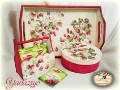 """""""Strawberry Mood"""" kitchen set includes tray, round box for storing tea bags or candies and square wooden candy vase(not displayed, small wooden basket is sold out, but could be made by order). executed in decoupage technique, used in paints and water-based varnish. made in a single copy"""