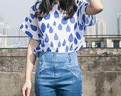 Rain Season Collection: spring white blue raindrop long sleeve shirt/T shirt and rain drop white shirt