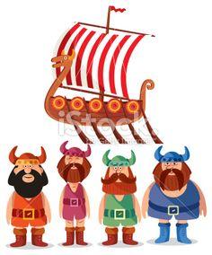 Vikings Royalty Free Stock Vector Art Illustration Viking Baby, Doll Toys, Dolls, Scandinavian Folk Art, Viking Ship, Free Vector Art, Hair Clips, Royalty, Cartoon