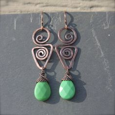 Hammered and Twisted Copper Earrings with Green by AlaskaFirefly, $25.00