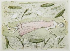 Emmi Vuorinen grafiikkaa teos/taulu Lumpeenkukkia - Life Art Oy Drypoint Etching, Water Lilies, Make Art, Printmaking, Helene Schjerfbeck, Modern Art, Illustration Art, Fantasy, Etchings
