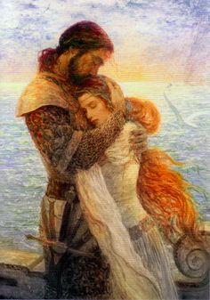 Tristão e Isolda by Marc Fishman Art Et Illustration, Illustrations, Bel Art, Art Amour, Roi Arthur, King Arthur, Arte Obscura, Pre Raphaelite, Fine Art