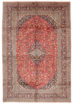 This carpet is knotted in central Persia. The carpet with a high quality usually have medallion patterns with floral fields, but variations occur. Keshan carpet RHJ56 432x290 cm from Persia / Iran - Buy your carpets at CarpetVista.com £1494