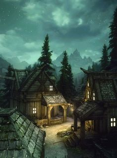 Beautiful Dovahkiin das Dorf<br> The Elder Scrolls V - Skyrim Fantasy Village, Fantasy Town, Medieval Fantasy, Fantasy World, Dark Fantasy, Fantasy Forest, Fantasy Castle, Fantasy Books, Fantasy Characters