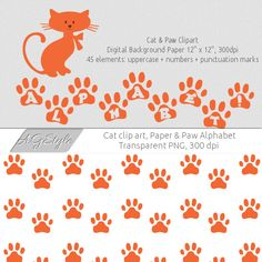 Orange Cat Clipart  Paw Alphabet  Paw Digital by AnnaGraphicStyle, $4.00  https://www.etsy.com/listing/191601318/orange-cat-clipart-paw-alphabet-paw?ref=sr_gallery_4&ga_search_query=Cat+Clipart&ga_page=2&ga_search_type=all&ga_view_type=gallery
