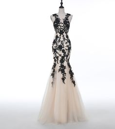 Sexy Champagne Party Prom Dress ,Long Robe De Soiree ,2017 Tulle Black Applique Party Dress, Mermaid Puffy Transparent Evening Gown Vestidos