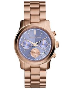 Michael Kors Women's Chronograph Runway Rose Gold-Tone Stainless Steel Bracelet Watch 38mm MK6163