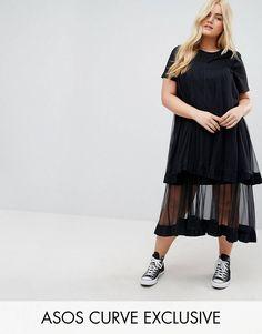 eba6c4b2875aa ASOS CURVE T-Shirt Dress with Mesh Overlay at asos.com. Plus Size ...