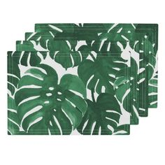 Lamona Cloth Placemats featuring monstera cheese plant painted tropical palms botanical tropical palm springs trendy plants cactus succulents plants by charlottewinter | Roostery Home Decor