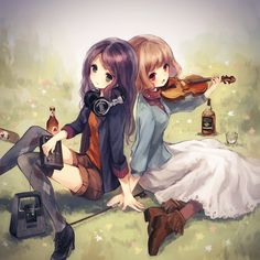 Kinda makes me think about me and my twin sis, except we both have long brown hair. I don't have a violin, but want to play it so badly. We both love music. I'm a little more country/girly than my twin, and yeah. ^v^