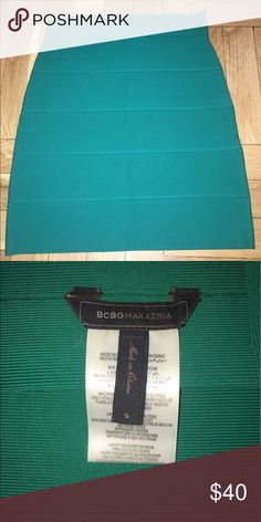 BCBG Maxazria Turquoise Bandage Skirt Size Small Turquoise BCBG bandage Skirt in Size small.  I purchase this about 3 years ago and haven't worn it in over a year.  Great for going out and can be worn year round.  Pair it with a crop time and wedges or a fun top and booties.  It's in great condition with no stains.  I don't remember the exact price but I think it was between $80-$100. BCBGMaxAzria Skirts