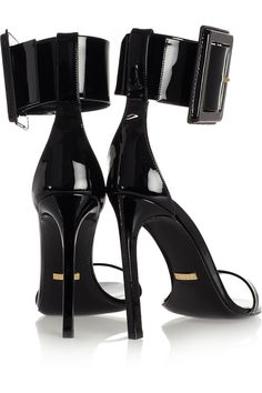 Gucci|Buckled patent-leather sandals|NET-A-PORTER.COM