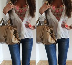 So cute. Bustier top under a white button down and jeans.