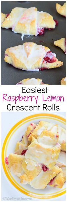 Raspberry Lemon Crescent Rolls Easiest Raspberry Lemon Crescent Rolls - Super easy crescent rolls filled with sweet raspberries, topped with a lemon glaze. This semi-homemade breakfast requires only 6 ingredients. Crescent Roll Recipes, Crescent Rolls, Crescent Dough, Just Desserts, Delicious Desserts, Yummy Food, Trifle Desserts, Brunch Recipes, Dessert Recipes