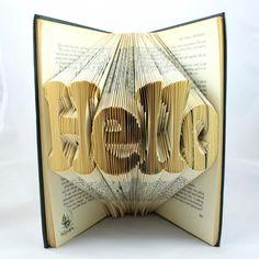 HELLO Folded Upcycled Book Art Sculpture. £45.00, via Etsy.
