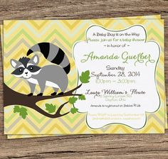 Vintage Shevron Baby Shower Invitation with Racoon by TanyasPrints, $10.00