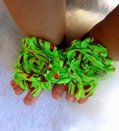 Baby Barefoot SandalsGreen Grinch Christmas by AriellesRunway, $6.95