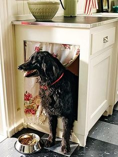custom base cabinet hidden dog bed area with fabric curtain