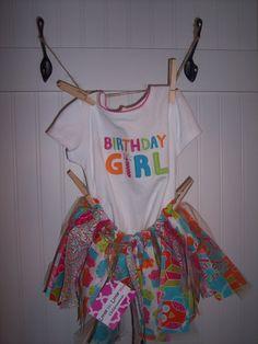 Birthday Girl Fabric Rag Skirt Tutu outfit by LittleMrLittleMiss, $19.00