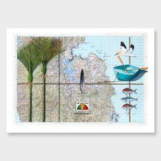 Mercury Bay Art Print by Justine Hawksworth Kiwiana, Old Maps, Map Art, Mercury, Original Paintings, Objects, Old Things, Art Prints, Drawings