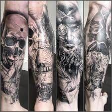 Pirate Tattoo Leg Sleeve tattoo man templates skull - Famous Last Words Pirate Tattoo Leg, Pirate Skull Tattoos, Pirate Ship Tattoos, Leg Sleeve Tattoo, Best Sleeve Tattoos, Sleeve Tattoos For Women, Shoulder Tattoo, Skull Sleeve, Tattoo Designs