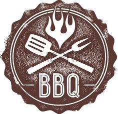Illustration of Vintage Barbecue (BBQ) Stamp vector art, clipart and stock vectors. Grill Logo, Bbq Grill, Grilling, Bbq Party, Barbeque Image, Food Truck, Chef Pictures, Stock Pictures, Stock Photos