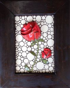 "Red Rose Mosaic with custom rustic frame 16""x20"" By Nikki Murray-Mason, Nikki Inc Mosaics $550"