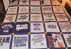 I didn't want to throw away my son's high school t-shirts, so decided to make them into a quilt.