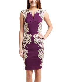 Love this London Dress Company Purple & Cream Amber Dress - Plus Too by London Dress Company on #zulily! #zulilyfinds