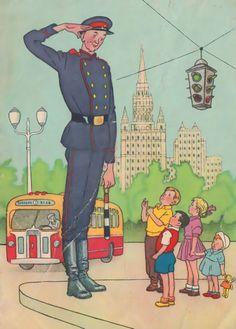 """Uncle Styopa"" illustration, postcard by Genrikh Valk, 1959"