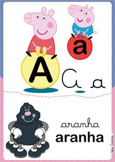 Alfabeto Ilustrado Peppa Pig e George para Imprimir Grátis Mais