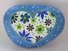 Painted Rock Heart Acrylic paints on a river rock Size : 4 x 3 x 1.5 inch Thank you for visiting my PlaceForYou shop.